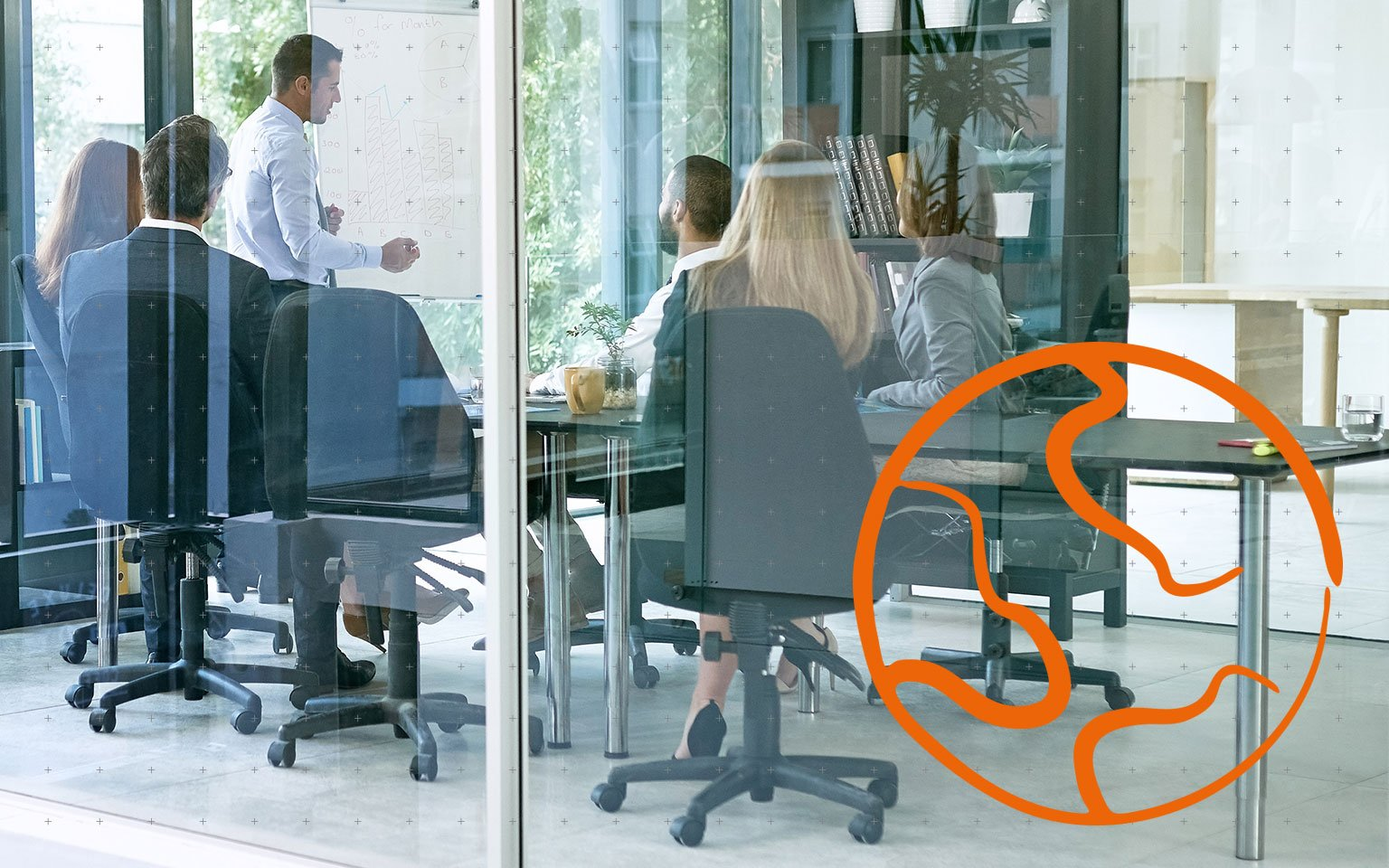 workers in a glass meeting room